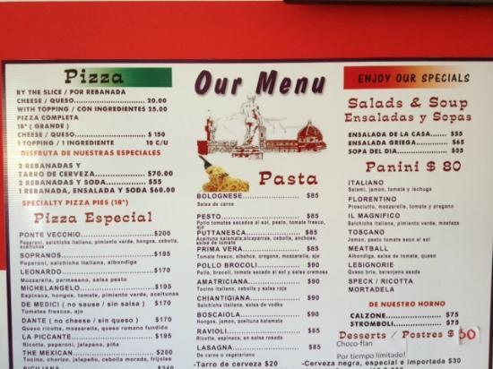 Landini's Pizzeria Menu