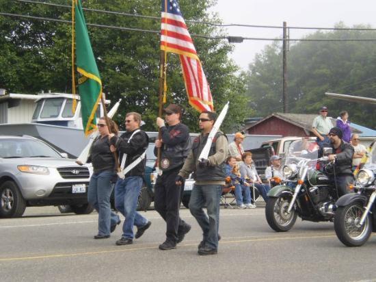 Mason's Olson Resort: Flag Procession at the parade