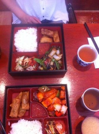 Red Star Noodle Bar: black bean and sweet and sour bento boxes. With jasmine tea.