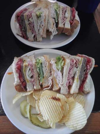 Steady Eddy's Cafe: Dagwood Sandwich on two plates