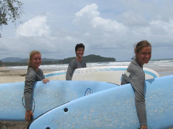 Koh Lanta Watersports: the three of us excited to get on the board! :-)