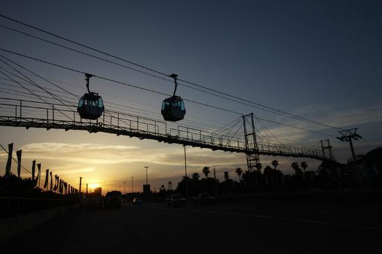 Ramsar Cable Car: cables are crossing road