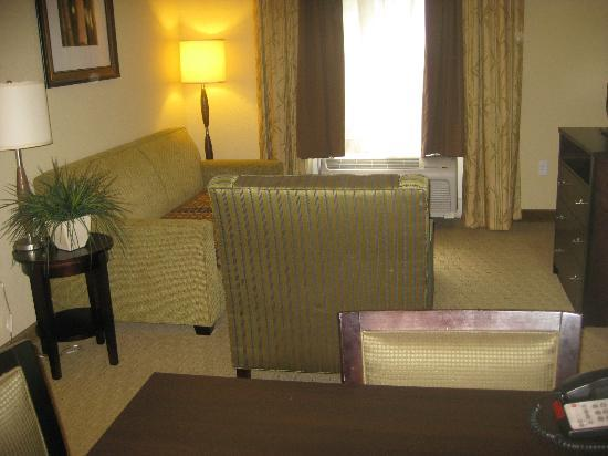 Hampton Inn & Suites Port Richey: Living room with sofa bed, chair and flat screen TV