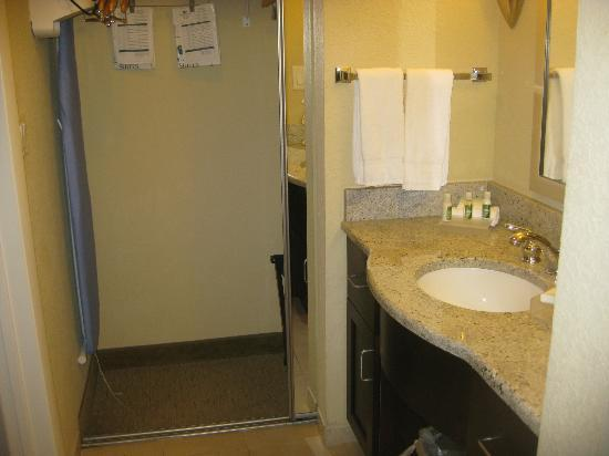Hampton Inn & Suites Port Richey: The sink and vanity is outside the bathroom.