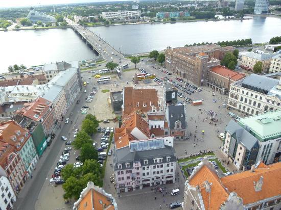 View of Riga from St Peter's Church Tower : A close up shows the House of the Blackheads and the Occupation Museum