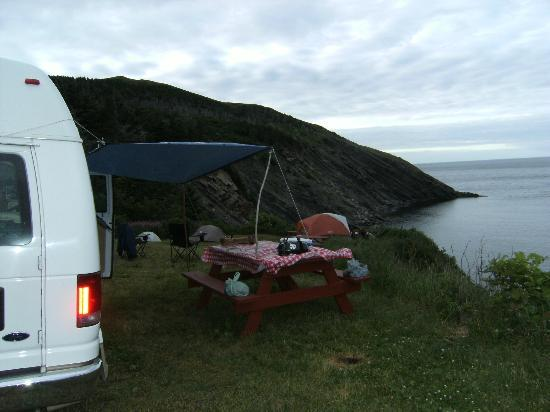 """Meat Cove Campground & Oceanside Chowder Hut: Careful camping, tie a rope around her """"BYE"""""""