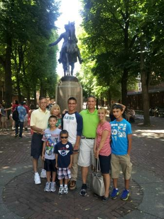 Walking Boston - Tours : The Liguori family in Paul Revere Square. Ben Edwards' tour was perfect for this family.