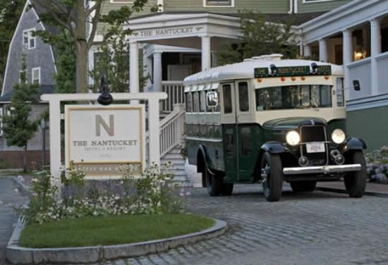 An antique bus shuttles guests to-and-from the ferries, as well as to the beach. (44838489)