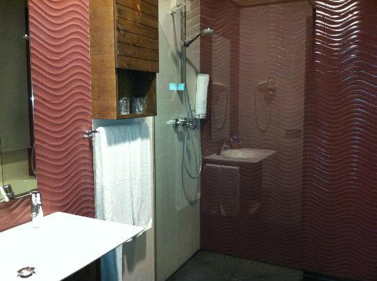 Hotel Santa Barbara: Detalle de la ducha. Aparte hay una bañera grande.