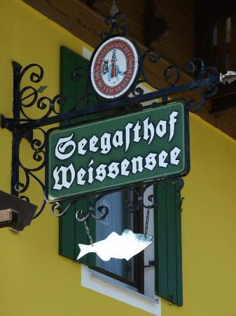 Seegasthof Weissensee: the guest house sign