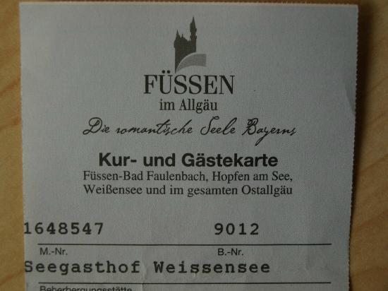 Seegasthof Weissensee: Kur- und Gastkarte