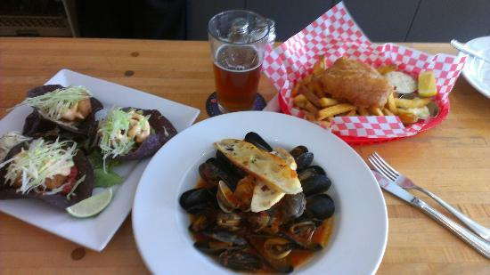 Fish Tacos, Mussels & Clams, Fish & Chips, Pint of Blue Bucks at Driftwood Bistro.
