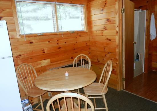 Twin Birches: kitchen seating with AC right behind it