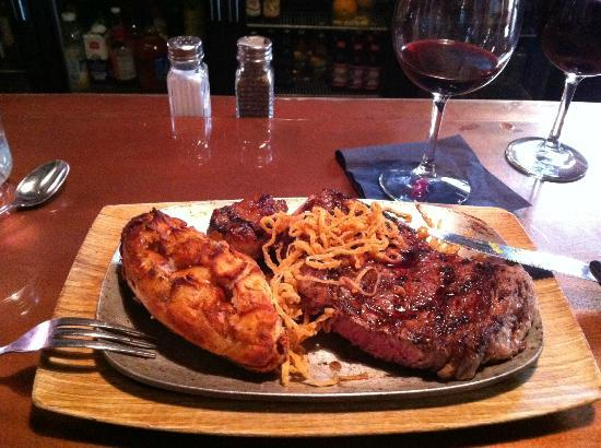 Casagranda's Steakhouse: Ribeye and twice baked spud