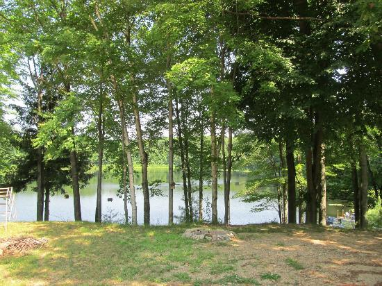 Bluegill Lake Campground: View of the lake from the hill end of the campground