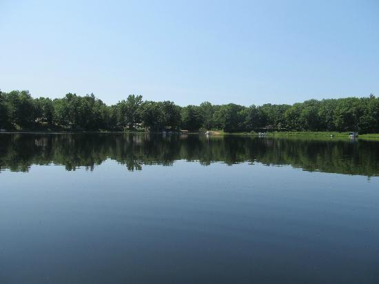Bluegill Lake Campground: View of the beach from the far side of the lake