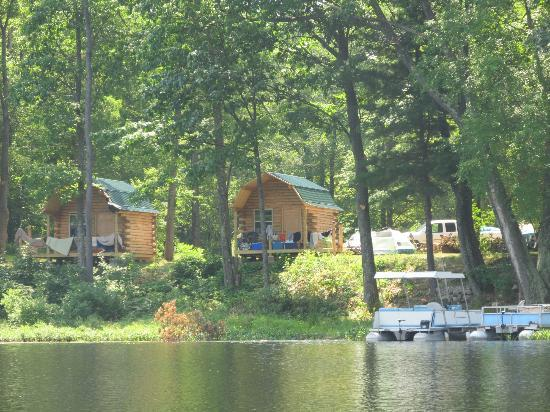 Bluegill Lake Campground: View of the cabins from the lake