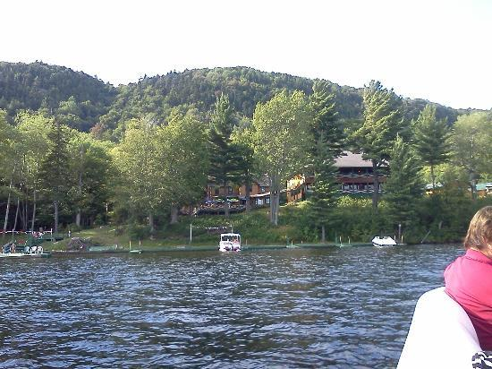 The North Woods Inn: View of the hotel from Fourth Lake.