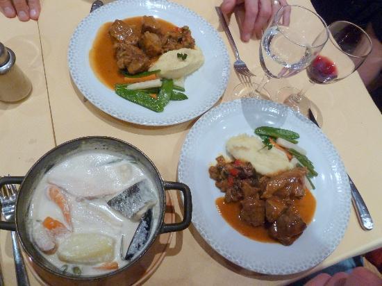 "Au Bouillon normand: my ""marmite du pecheur"" and my husband's lamb"