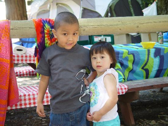 Redwoods River Resort & Campground: our grandson Jaden and his friend Fiona