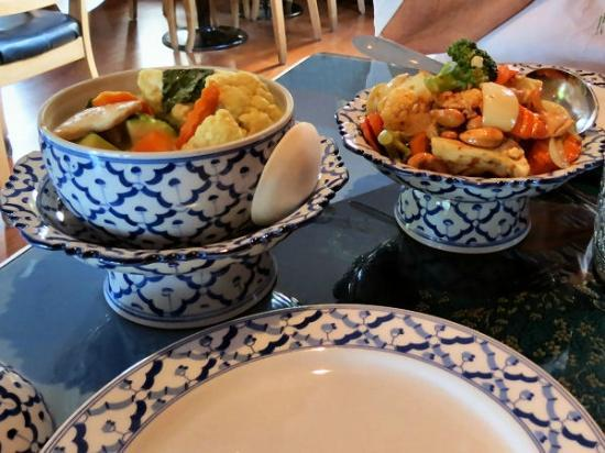 Thai Village: Our green curry and cashew chicken entries.