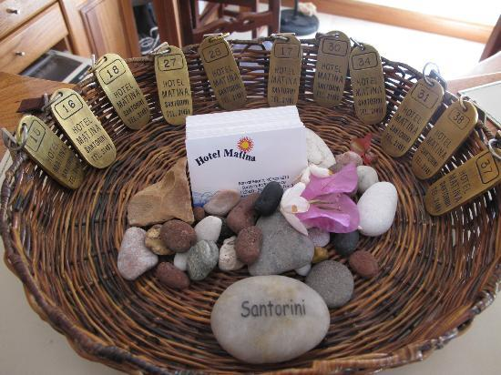 Hotel Matina: Key Basket (leave your key here when you leave & pickup on return)