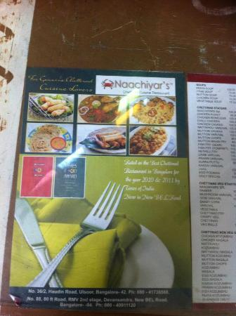 Naachiyar's: details on the restrauant