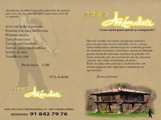 Sidreria Restaurante Casa Mendez: NUEVA CARTA SIDRERIA CASA MENDEZ JUL12