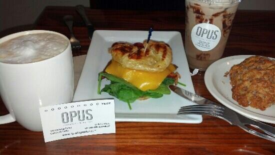 Opus Espresso & Food Bar: breakfast sandwich w latte; huge cinnamon scone w summer peppermint mocha YUM :)