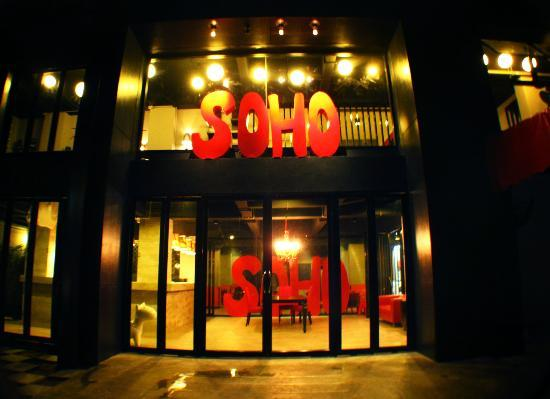 SOHOstel: Front of the Hostel at night