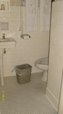 Queensbury Hotel: Tiny closet size Bathroom- Ok for conferences only.