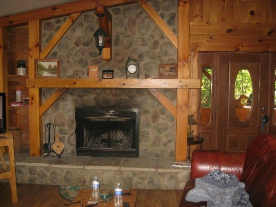 Springwood Cabins: Fireplace