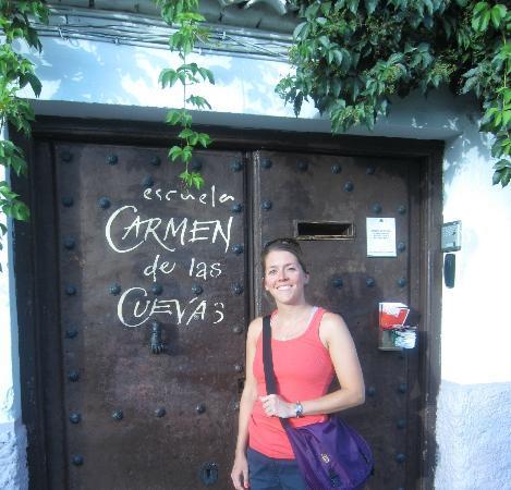 Escuela Carmen de las Cuevas: In front of the door to the school. It's a hidden gem.