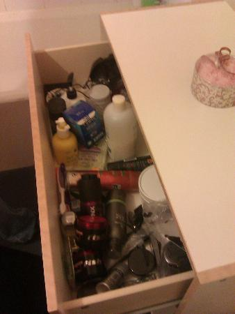 Kendal House: Previous occupants belongings in bathroom drawer