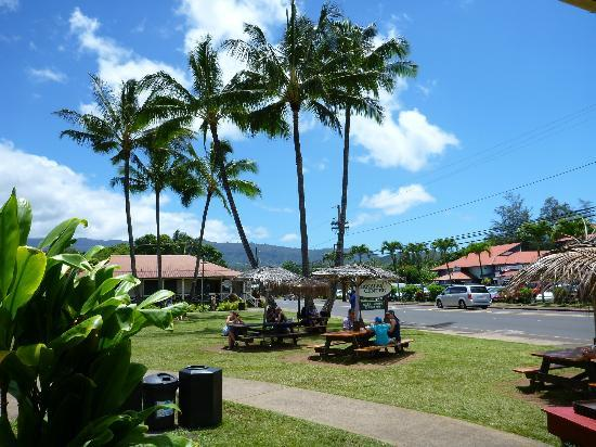 Bubba's : The view from the outdoor bench seating area toward Hanalei town