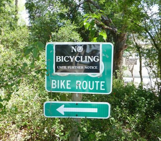 Santa Ana National Wildlife Refuge: No Bicycling sign at Santa Ana NWR