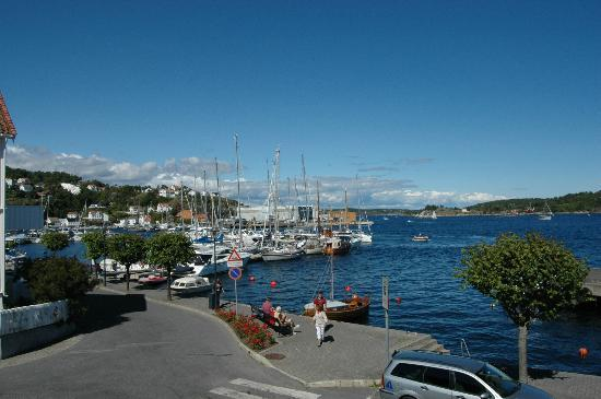 Risor Hotel: That's the town guest harbour over there, as seen from the terrace