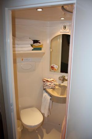 Premiere Classe Epernay : Toilet part of pod bathroom.