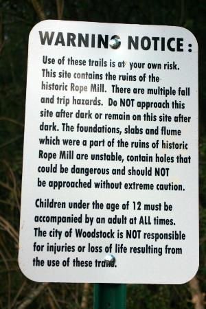 Little River Trail: Mill Ruins warnings