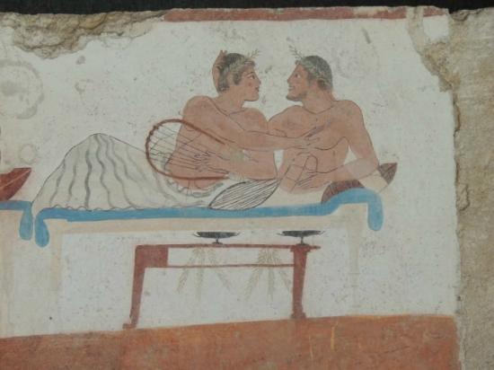 Templi Greci di Paestum : Schwules Liebespaar - Fresko im Tauchergrab