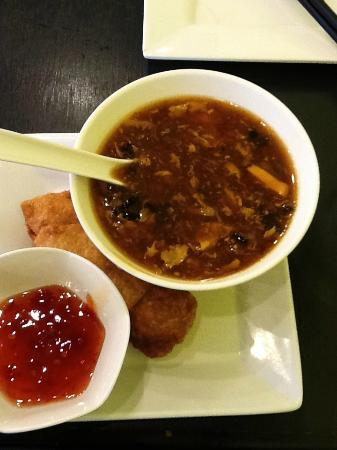 Sweet And Sour Soup With Egg Roll Picture Of Joy Yee S