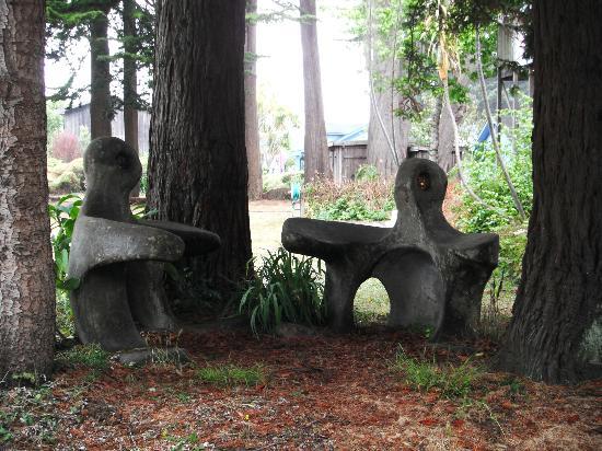 Mendocino Art Center: Sculptures in the Mendocino Arts Center garden in July 2012.