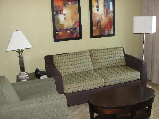 Ledgestone Hotel Yakima: Very nice sized living room with large flat-screen TV