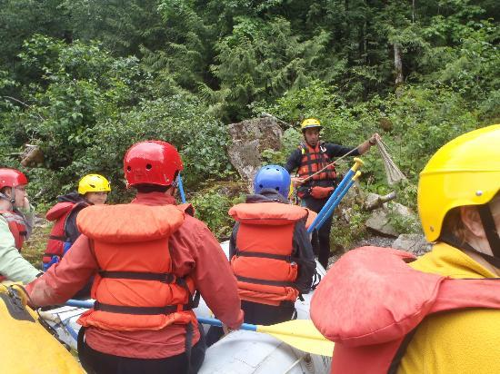 Destiny River Adventures : Jamie,Master Guide & Trip Leader going over all the safety rules