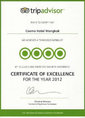 Dorsett Mongkok Hong Kong: Certificate of Excellence
