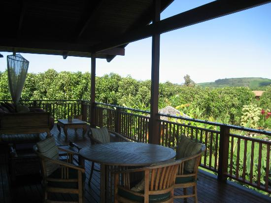 Anahata Sanctuary: Large and comfortable upstairs patio with cosy daybed, dining area and stunning views...!