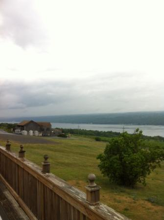 Inn at Chateau LaFayette Reneau: view of the winery and lake from the deck