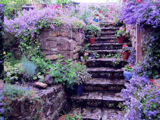 Rose Cottage Bed & Breakfast: 100+ year old stone steps leading to Rose Cottage's back garden.