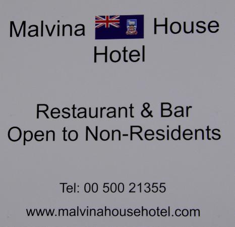 Malvina House Hotel: Cartel