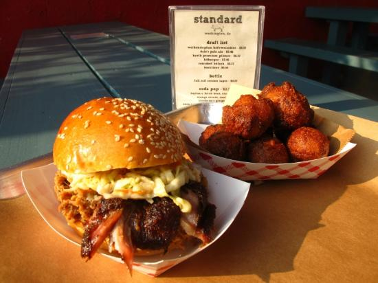 standard - pulled pork and hush puppies